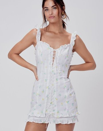 FOR LOVE AND LEMONS Azalea Mini Dress -  White Floral
