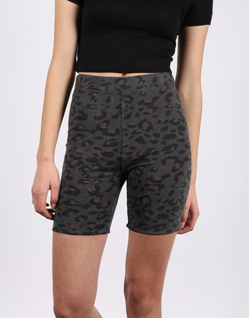 brunette the label Leopard Print Bike Short - Slate