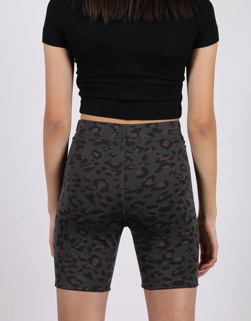 brunette the label Leopard Print Bike Short - Slate