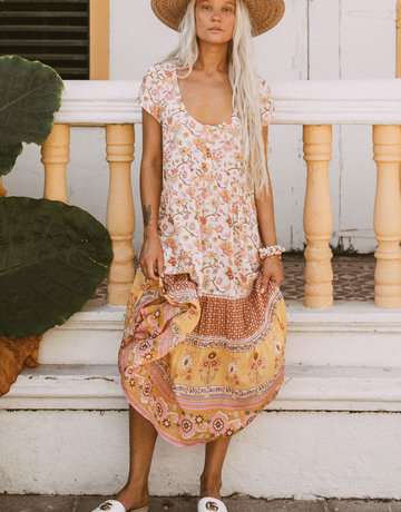 SPELL & THE GYPSY Portobello Road  Babydoll Midi Dress - Honey Dew