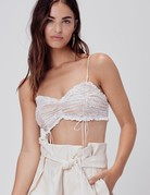 FOR LOVE AND LEMONS Verbena Lace Shirred Tank - Ivory