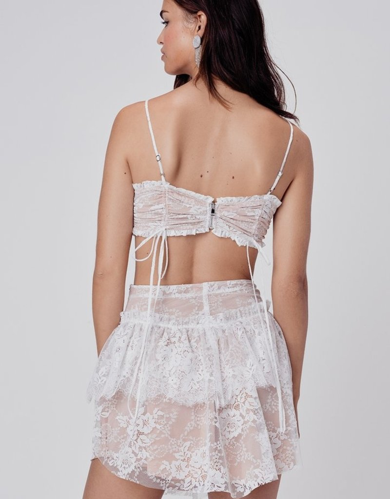 FOR LOVE AND LEMONS Verbena Lace Mini Skirt - Ivory
