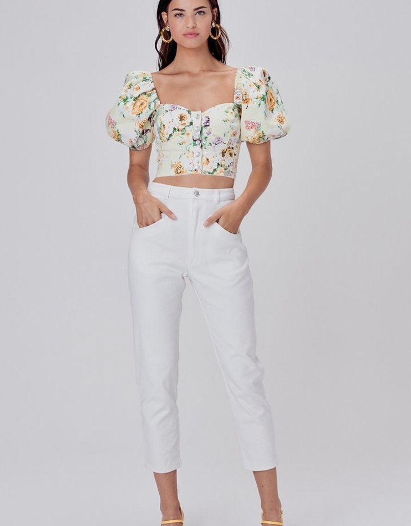FOR LOVE AND LEMONS Camomile Denim Crop Top - ButterCreme