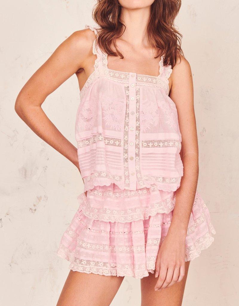 LOVESHACKFANCY Ruffle Mini Skirt - Pink Tulip