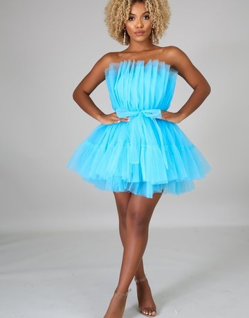 SHAKE YOUR BON BON All Eyes On Me Mini Party Dress -  Blue