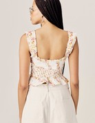 FOR LOVE AND LEMONS Georgia Lace Up Top - Mustard
