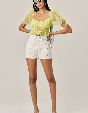 FOR LOVE AND LEMONS Sunshine Crop Top - Yellow