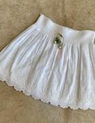 BELL White Eyelet Skirt/Sage Tassel