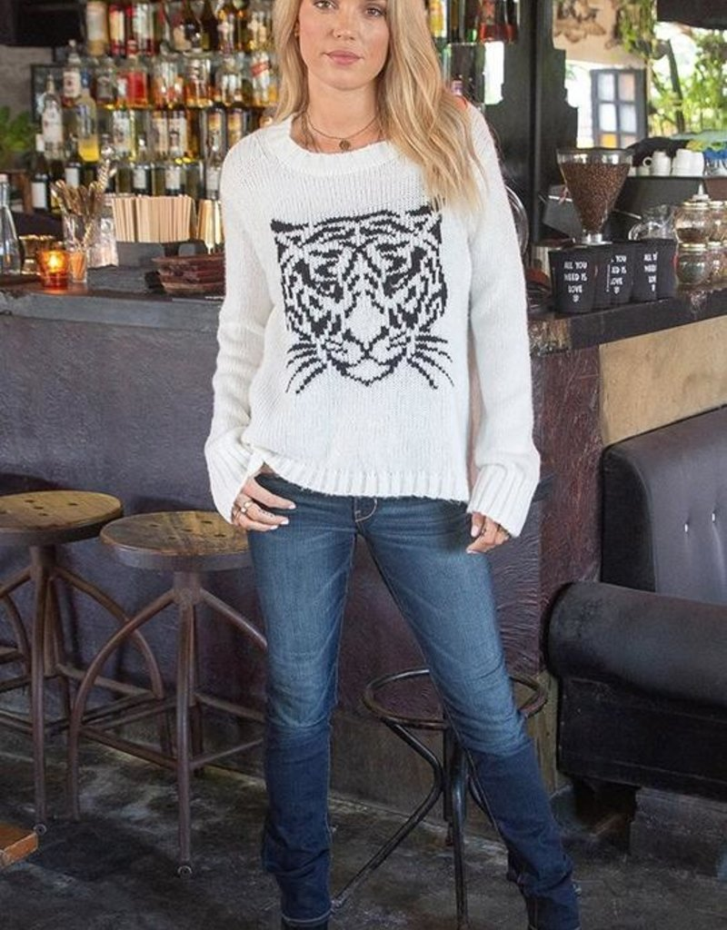 WOODEN SHIPS Tiger Face Crew Sweater - Snow/Black