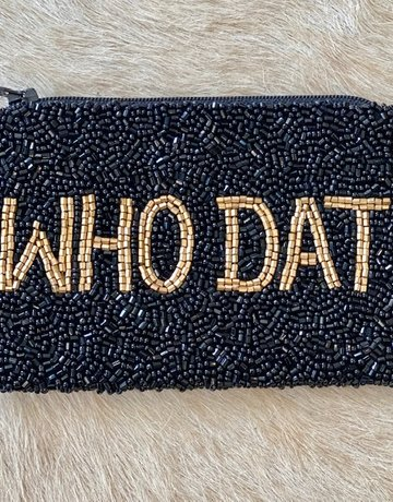Tiana Hand Beaded Custom Coin Purse - WHO DAT