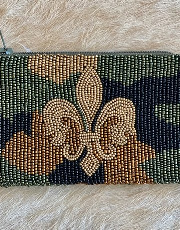 Tiana Hand Beaded Custom Coin Purse - Camo Fleur DeLis