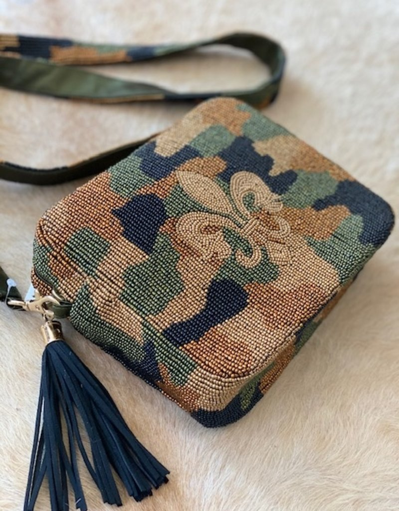 Tiana Hand Beaded Custom Clutch/Crossbody - Camo Fleur DeLis