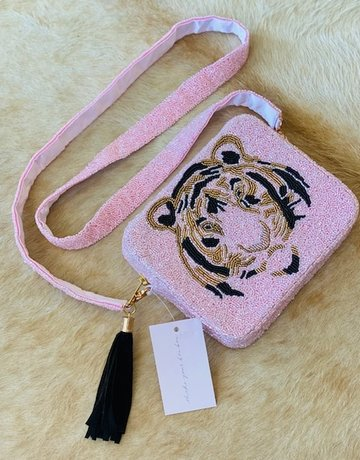 Tiana Hand Beaded Custom Clutch/Crossbody - Pink Tiger