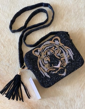Tiana Hand Beaded Custom Clutch/Crossbody - Black Tiger