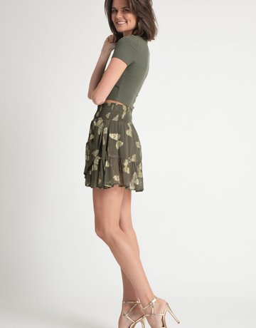 Muche & Muchette Papillon Mini Skirt - Army Green Butterfly