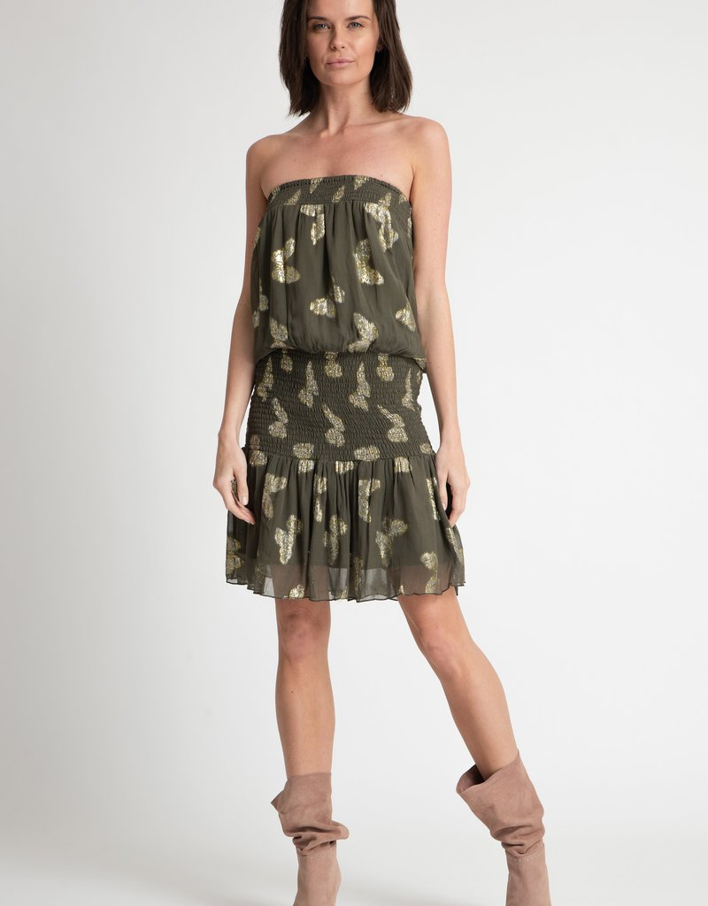 Muche & Muchette Papillon Tube Dress - Army Green Butterfly