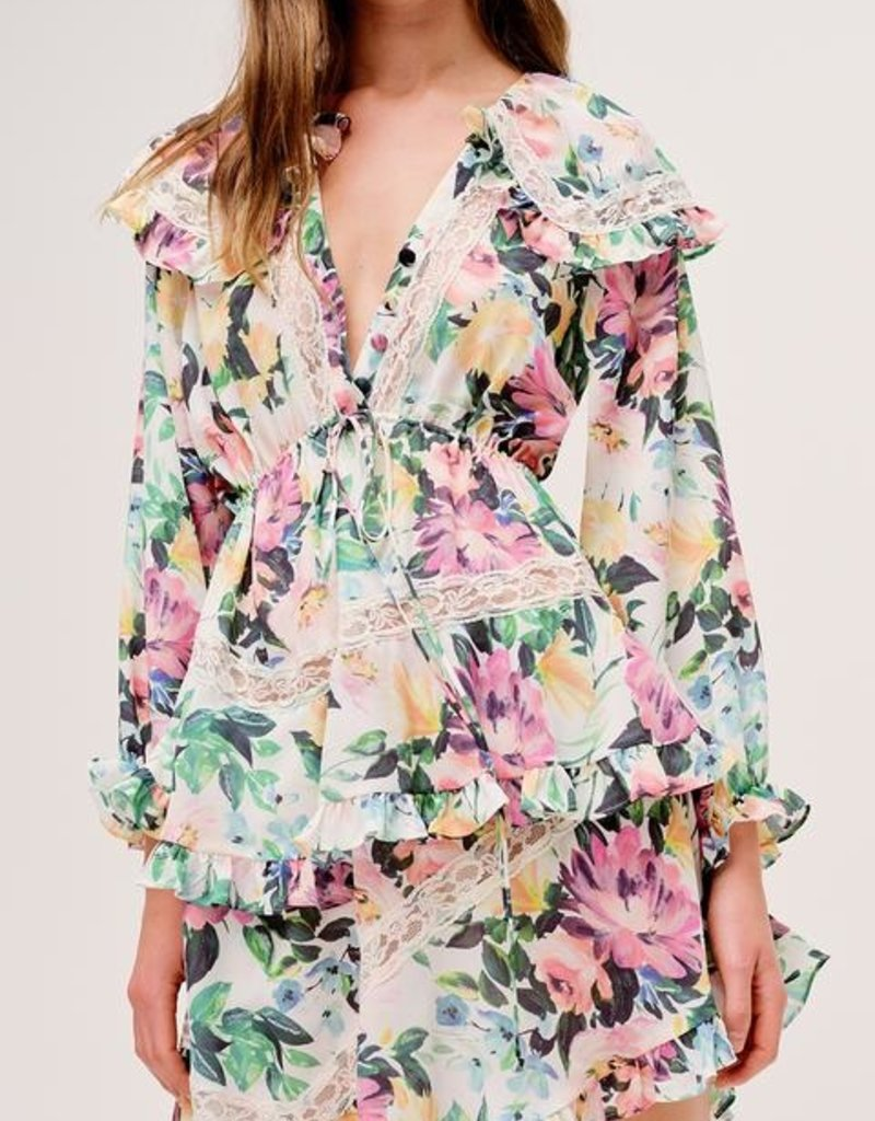FOR LOVE AND LEMONS Bailey Dress - Ivory Floral