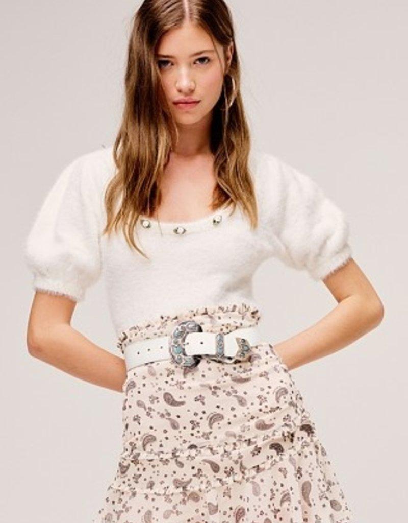 FOR LOVE AND LEMONS Anastasia Sweater - White