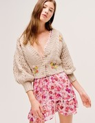 FOR LOVE AND LEMONS Amaryllis Cropped Cardigan - Wheat