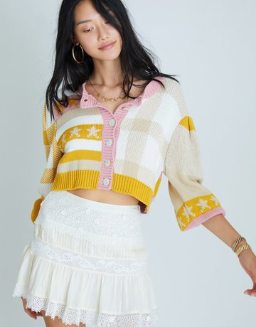 LOVESHACKFANCY Bedford Crop Cardigan - Desert Sunset