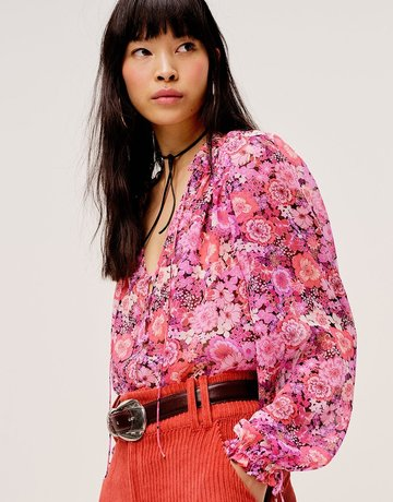 FOR LOVE AND LEMONS Grace Blouse - Carnation