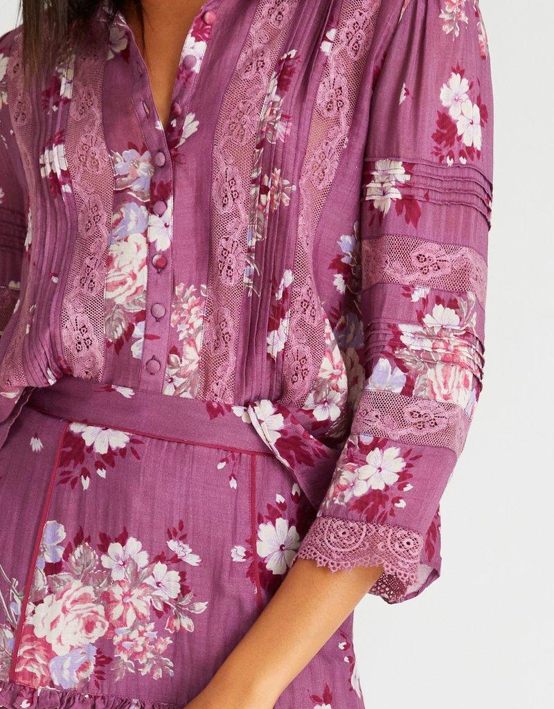 LOVESHACKFANCY Florita Skirt - Merlot Dusk