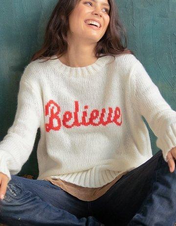 WOODEN SHIPS Believe Pullover - Cream/Scarlet