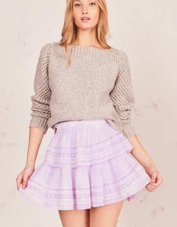 LOVESHACKFANCY Ruffle Mini Skirt - Violet Splash Hand Dyed