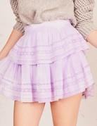 LOVESHACKFANCY Ruffle Mini Skirt - Violet Splash Hand Dyed