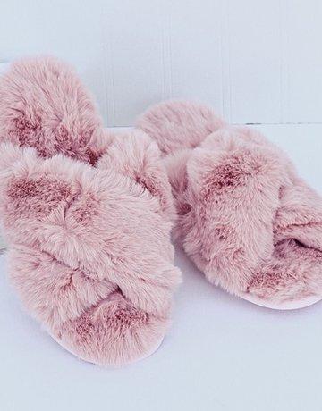 SHAKE YOUR BON BON Sleep In Fuzzy Slippers ~ Blush