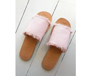 b62fe2adcf9a Blush Fray Denim Slide - Shake your Bon Bon
