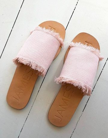 JAMES SMITH Blush Fray Denim Slide