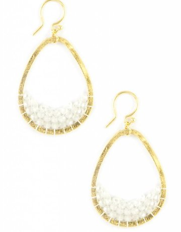 CHAN LUU Small Beaded Teardrop Earring