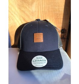 Sauble Beach SB leather sqr patch trucker
