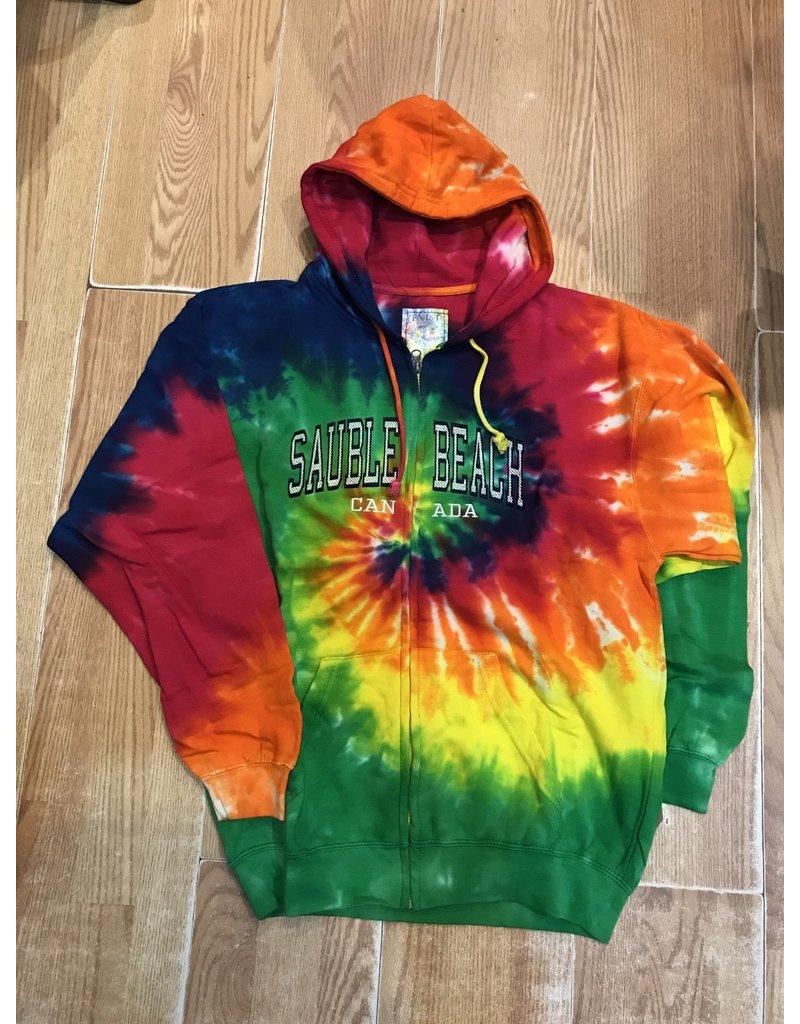 Sauble Beach SB arch emb tye dye zip hoody