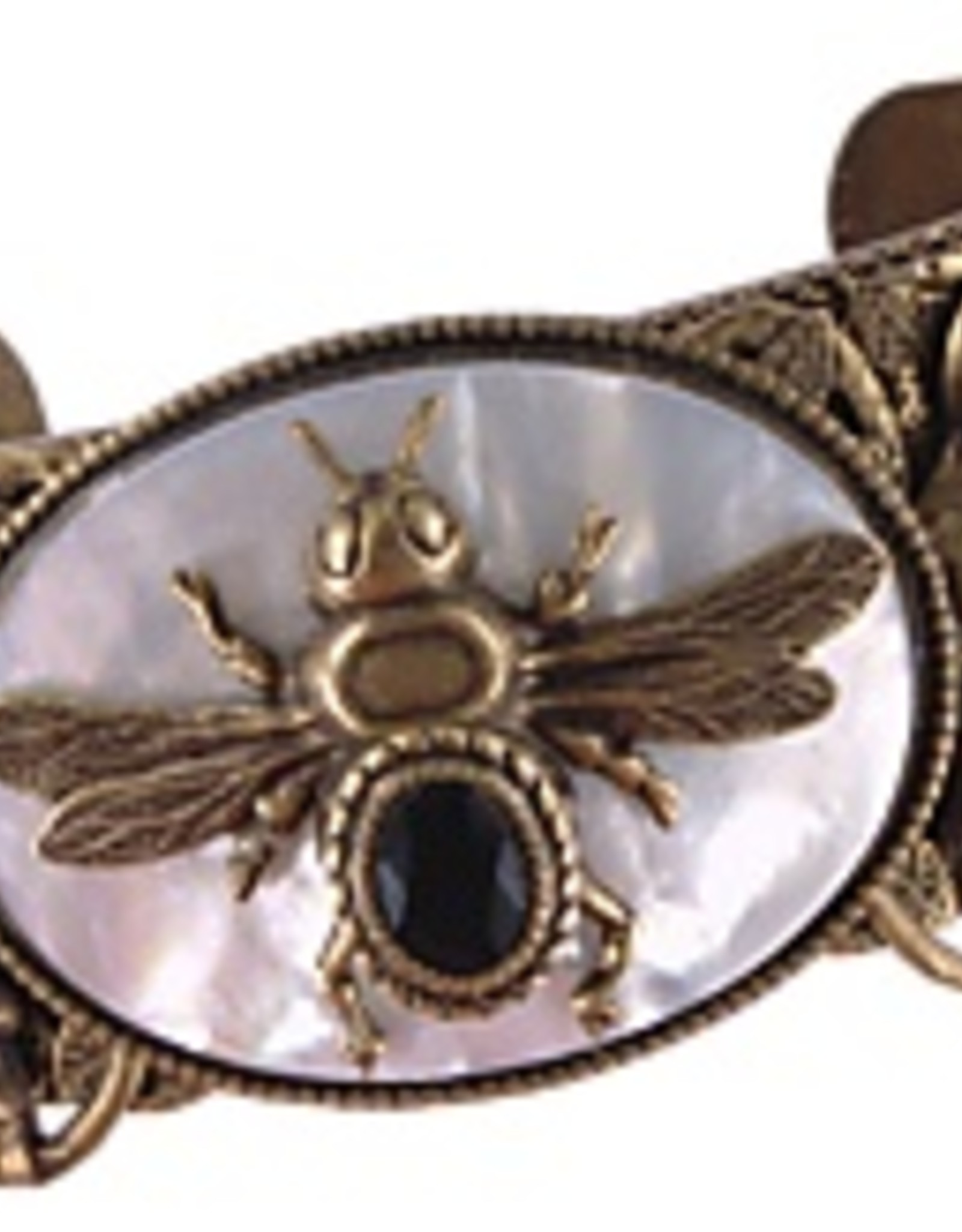 Patrice Mother of Pearl Onyx Bee Cuff Bracelet