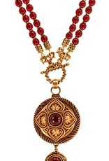 Patrice Gold Garnet Round Drop Necklace