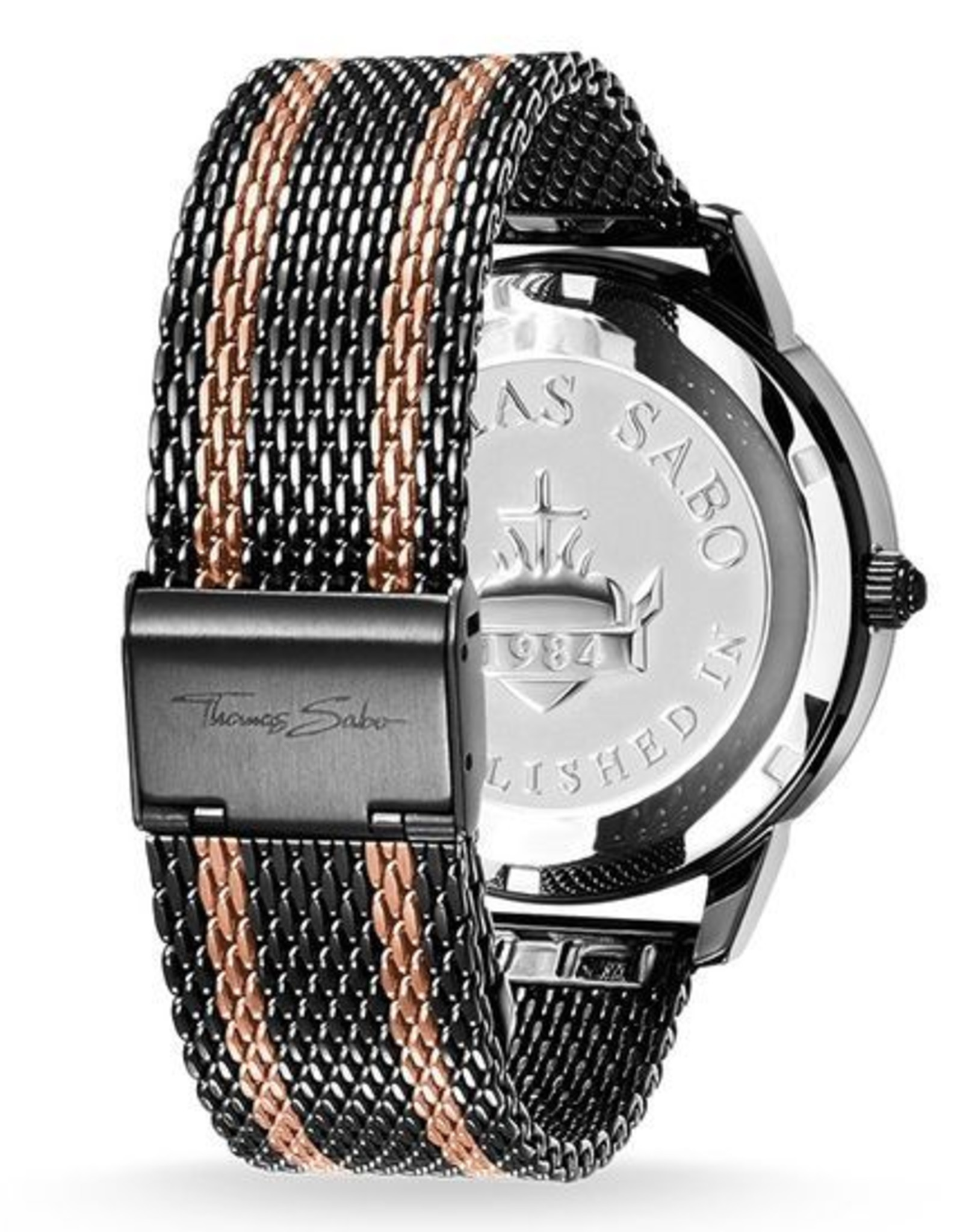 Thomas Sabo Stainless Steel Black and Rose Gold Stripes with Black Dial Watch