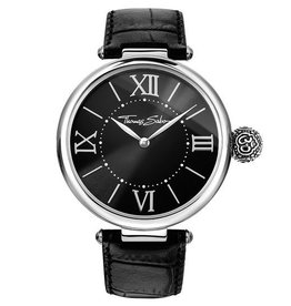 Thomas Sabo Black Leather Strap Black Dial Watch