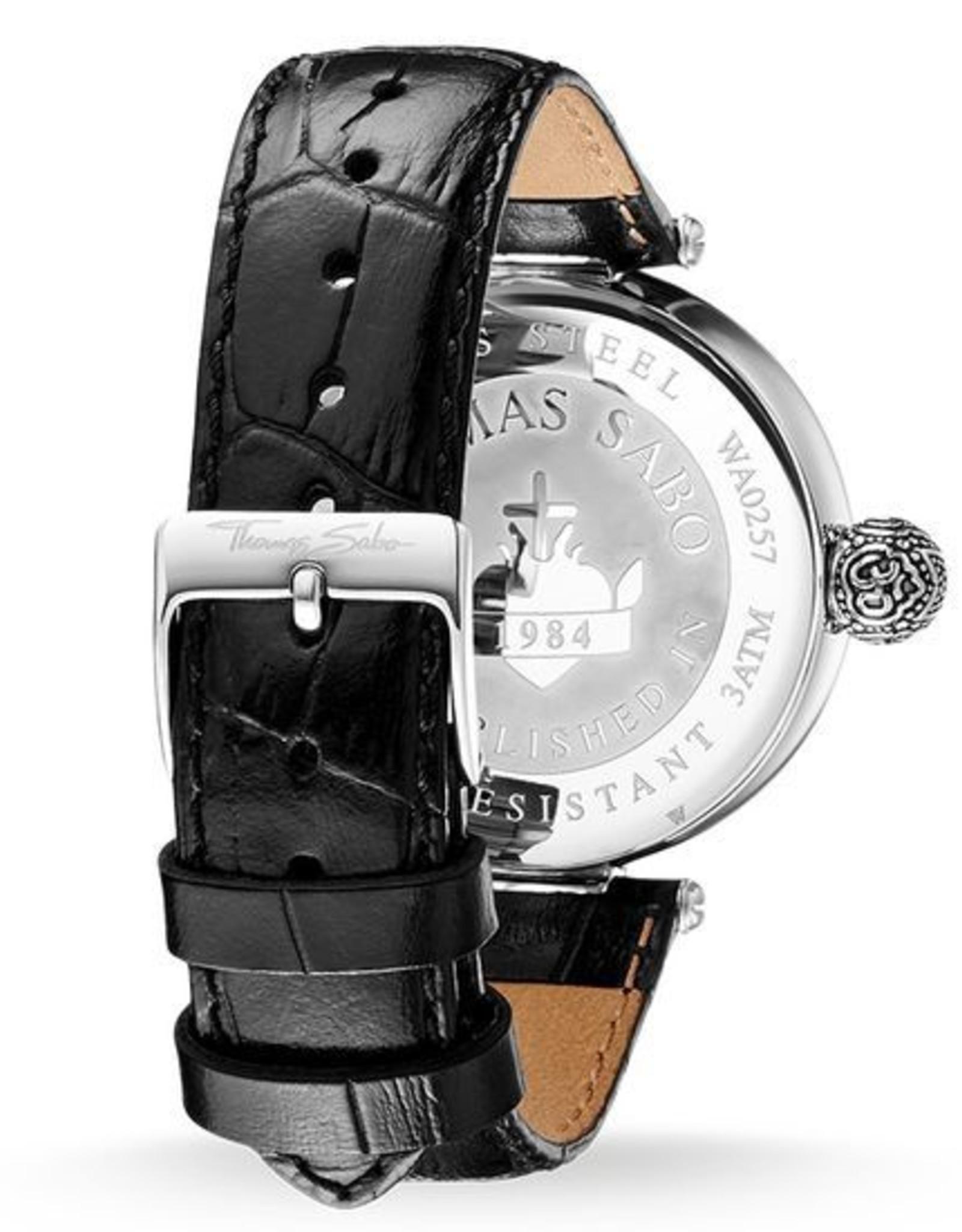 Thomas Sabo Black Leather Strap Black Dial Watch