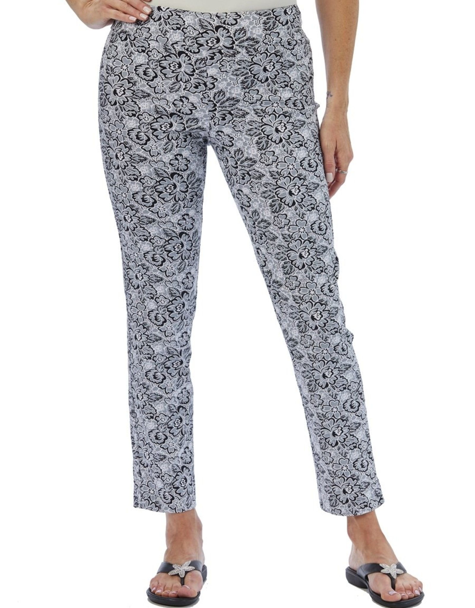 Krazy Larry Pant Krazy Larry's Silver Flowers Pull on Pant