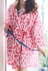 Jaye's Studio Don't Fret Robe  White/Pink Sz Sm/Med