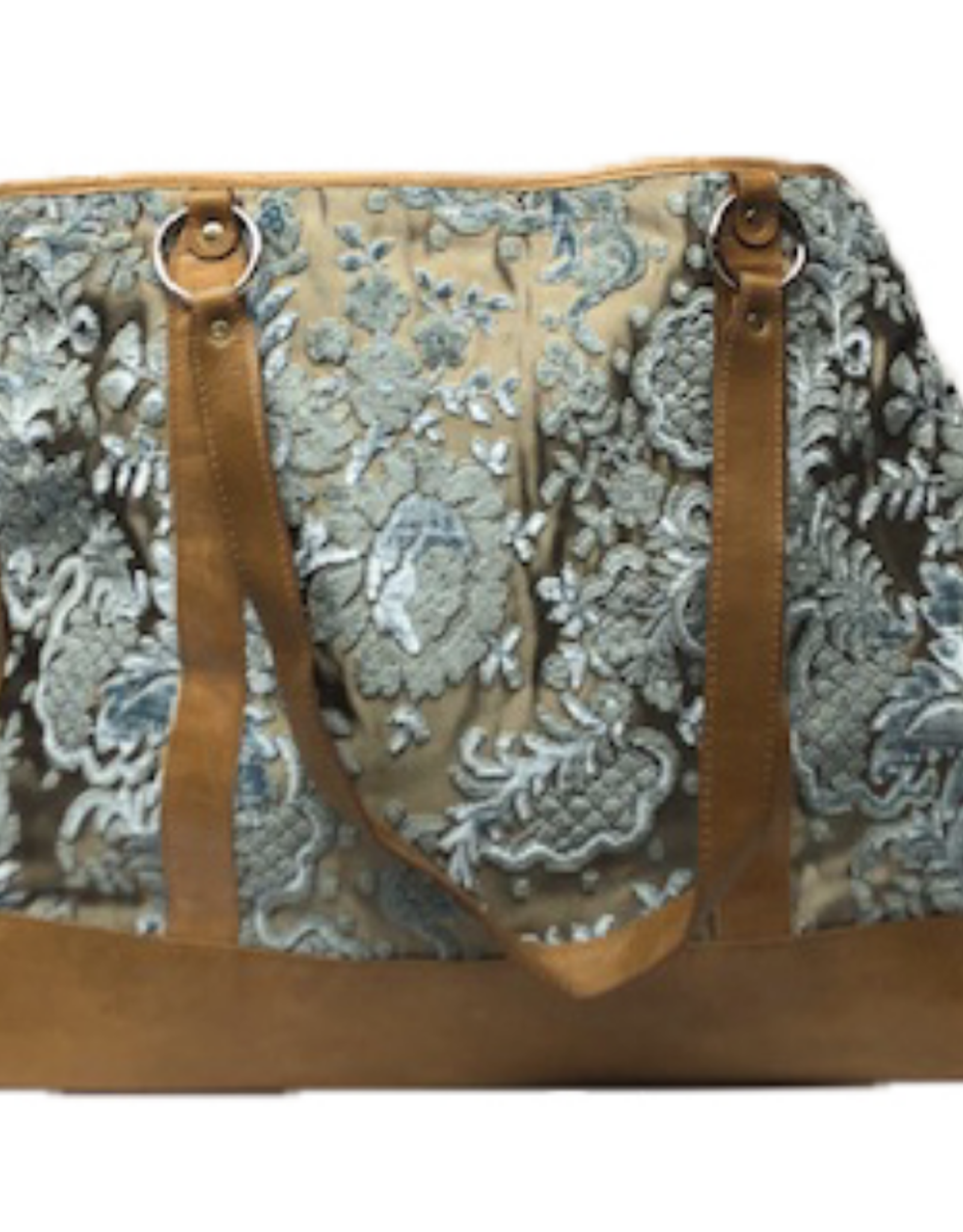 glenda Gies Eloise Ice Blue Chenille Floral on Gold Tote Bag