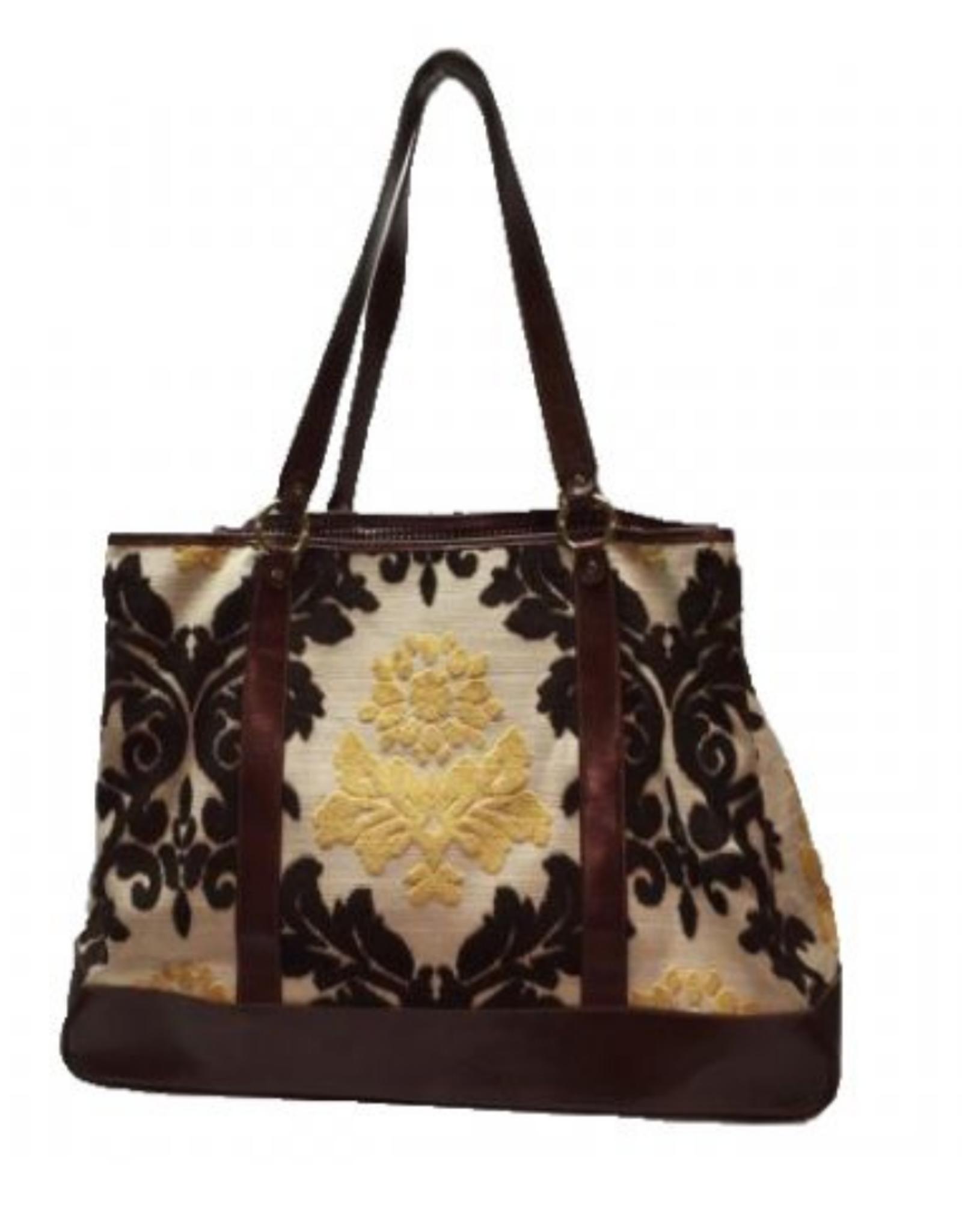glenda Gies Eloise Yellow Chenille Mosaic Tote Bag