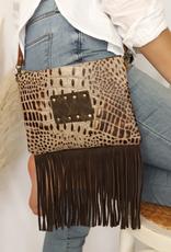 Crocodile Ellie Crossbody Bag w/ Fringe LV