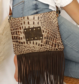 Crocodile Ellie Crossbody Bag w/ Fringe LV