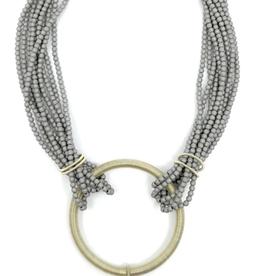 Sea Lily Gunmetal Matte Hematite Necklace w/ Baroque Pearl
