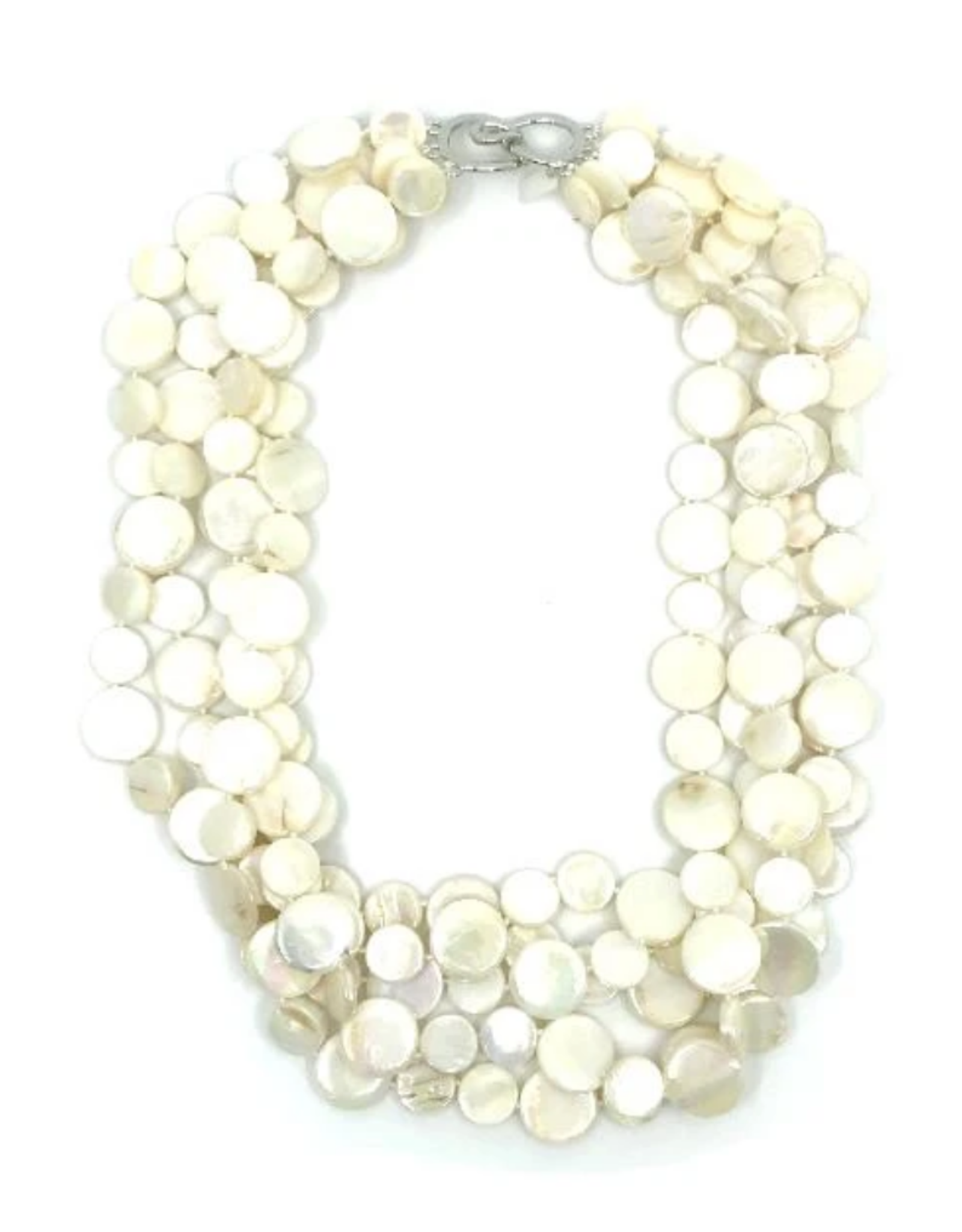 Sea Lily 5 Strand Mother of Pearl  White Necklace