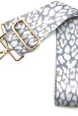 CTHRUPURSES Ivory Leopard Canvas Ribbon Gold Buckle Strap