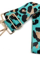 CTHRUPURSES Canvas Leaopard Turquoise Strap Gold Buckle